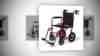Medline Lightweight Transport Wheelchair with Handbrakes, Folding Transport Chair