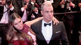 Robbie Williams and wife on the red carpet of The Sea of Trees film at 2015 Cannes Film Festival