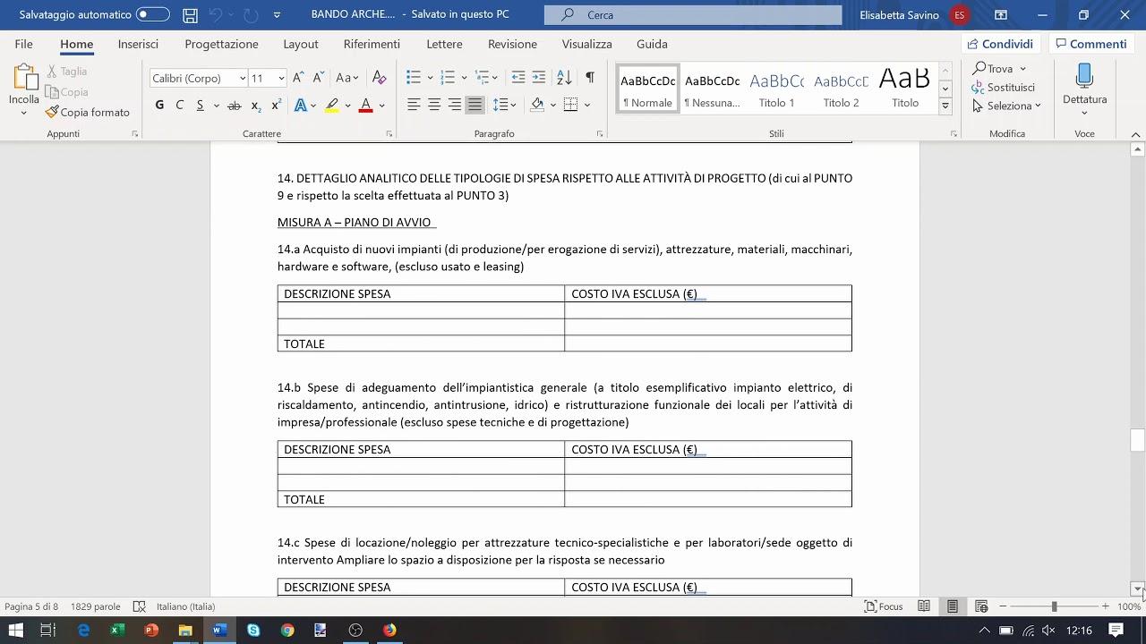 Spese Tecniche Di Progettazione bando archè - modulistica e formulario tecnico