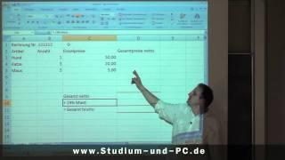 Excel Grundkurs: Rechnen und MWST errechnen - http://www.Studium-und-PC.de