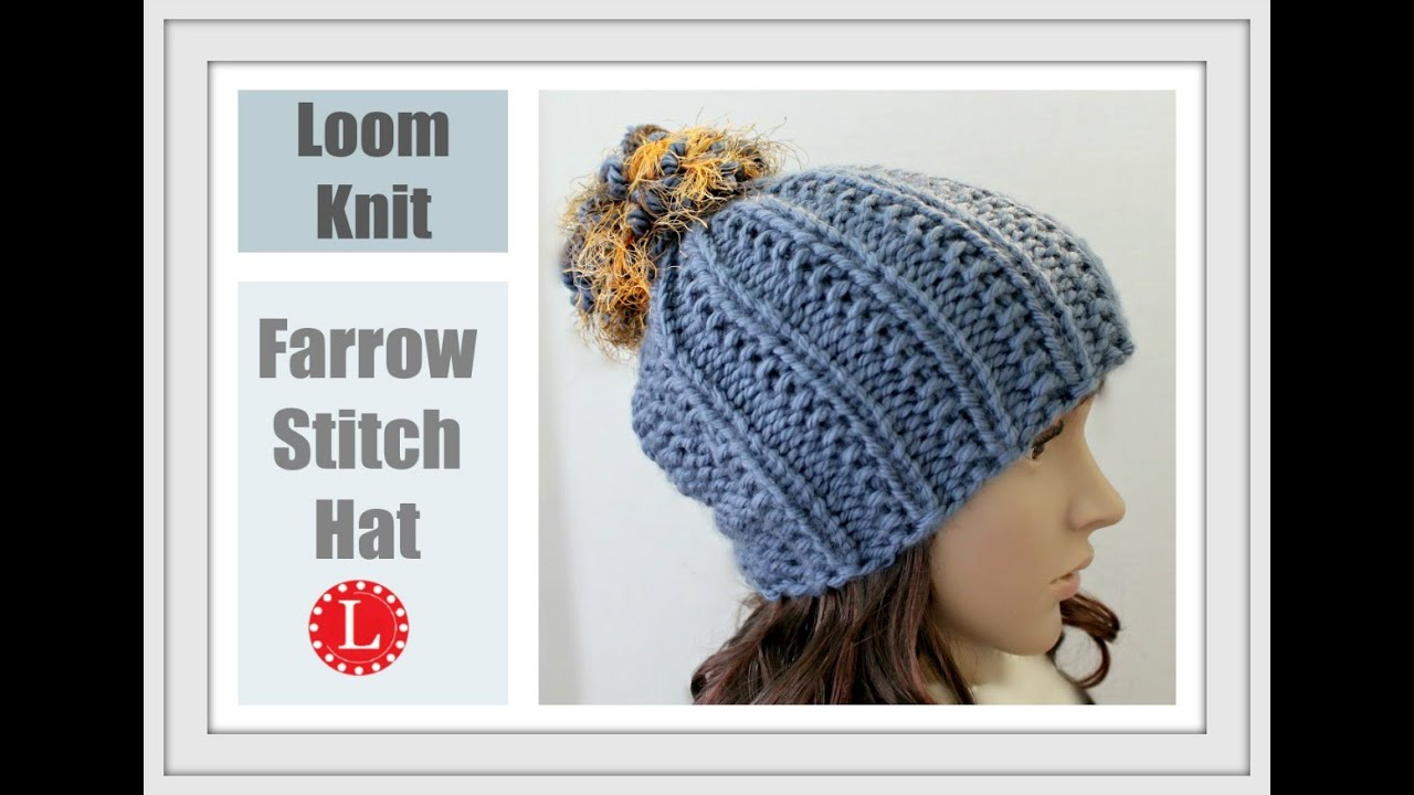 c85fd23e4d2 How to Loom Knit a Hat with out a Brim (Farrow Stitch Beanie) Round Loom