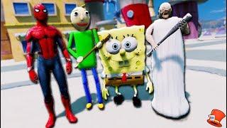 GRANNY & BALDI vs SPIDER-MAN & SPONGEBOB UNDERSEA!! (GTA 5 Mods FNAF RedHatter)