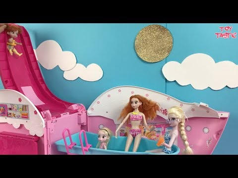 Frozen Dolls Elsa and Anna Pool Party Dress Up Shopping Kidnapped +Barbie Morning Routine!