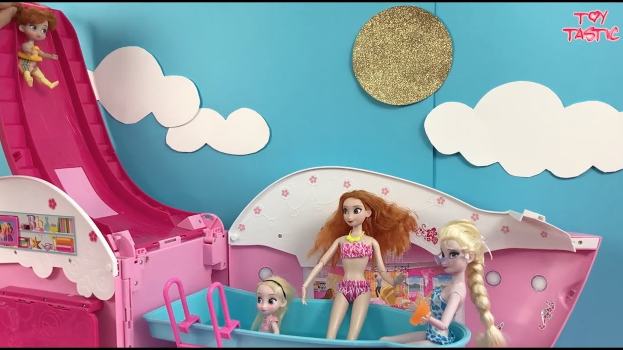 Frozen Dolls Elsa and Anna Pool Party Dress Up Shopping +Barbie ...
