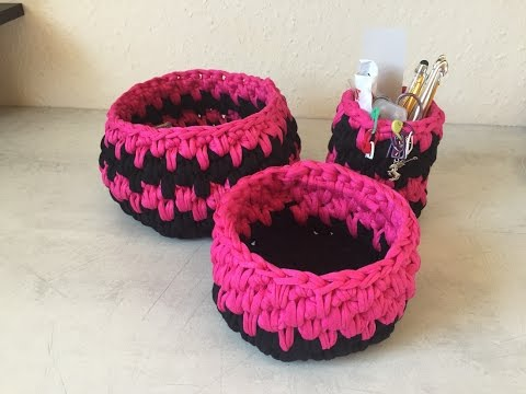 tuto panier corbeille au crochet youtube. Black Bedroom Furniture Sets. Home Design Ideas