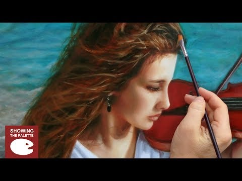 OIL PAINTING PORTRAIT DEMO ✦ REALISTIC ART VIDEO ✦ red-haired girl and violin by Isabelle Richard