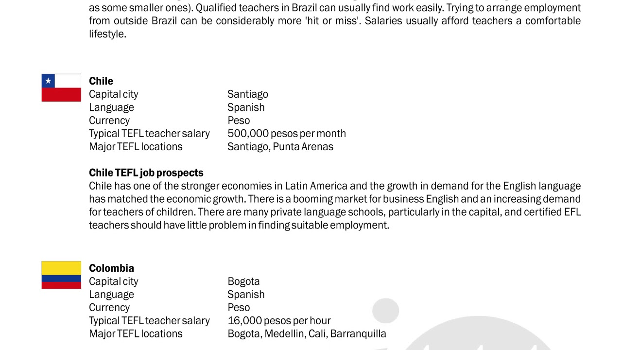 Tefltesol Guide Brazil Chile Colombia International Tefl And