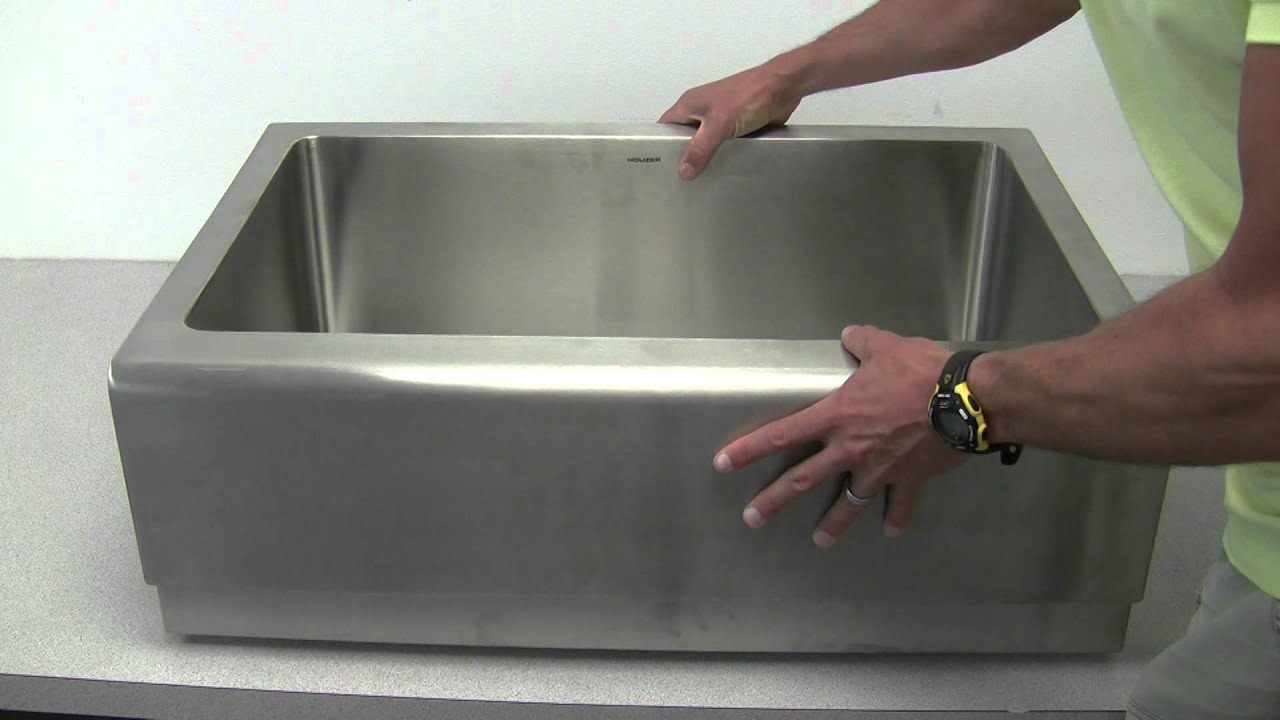 Houzer EPS 3000 Epicure Single Bowl Apron Front Stainless Steel Sink    YouTube