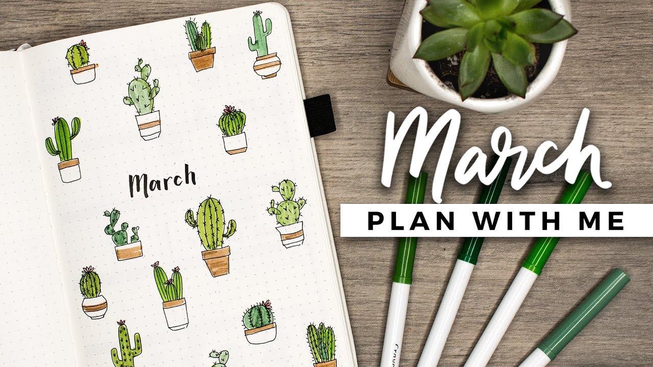 bullet journal cactus theme march plan setup