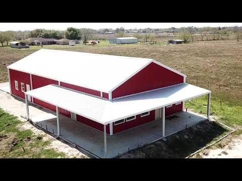 Crimson Red/Galvalume/Solar White Barndominium - Aerial Footage