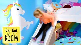 Girl Gets DONUT SUPER SLIDE in Bedroom | Get Out Of My Room | Universal Kids
