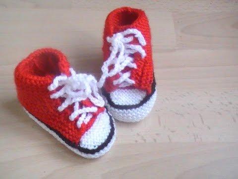 4442d67cf1415 chausson basket pour bebe au tricot 1 partie - YouTube