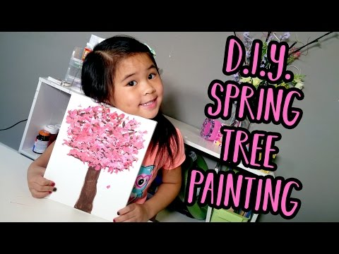 DIYEasy Cherry Blossom Painting Tutorial for Kids | Spring Tree Painting Ideas for Toddlers