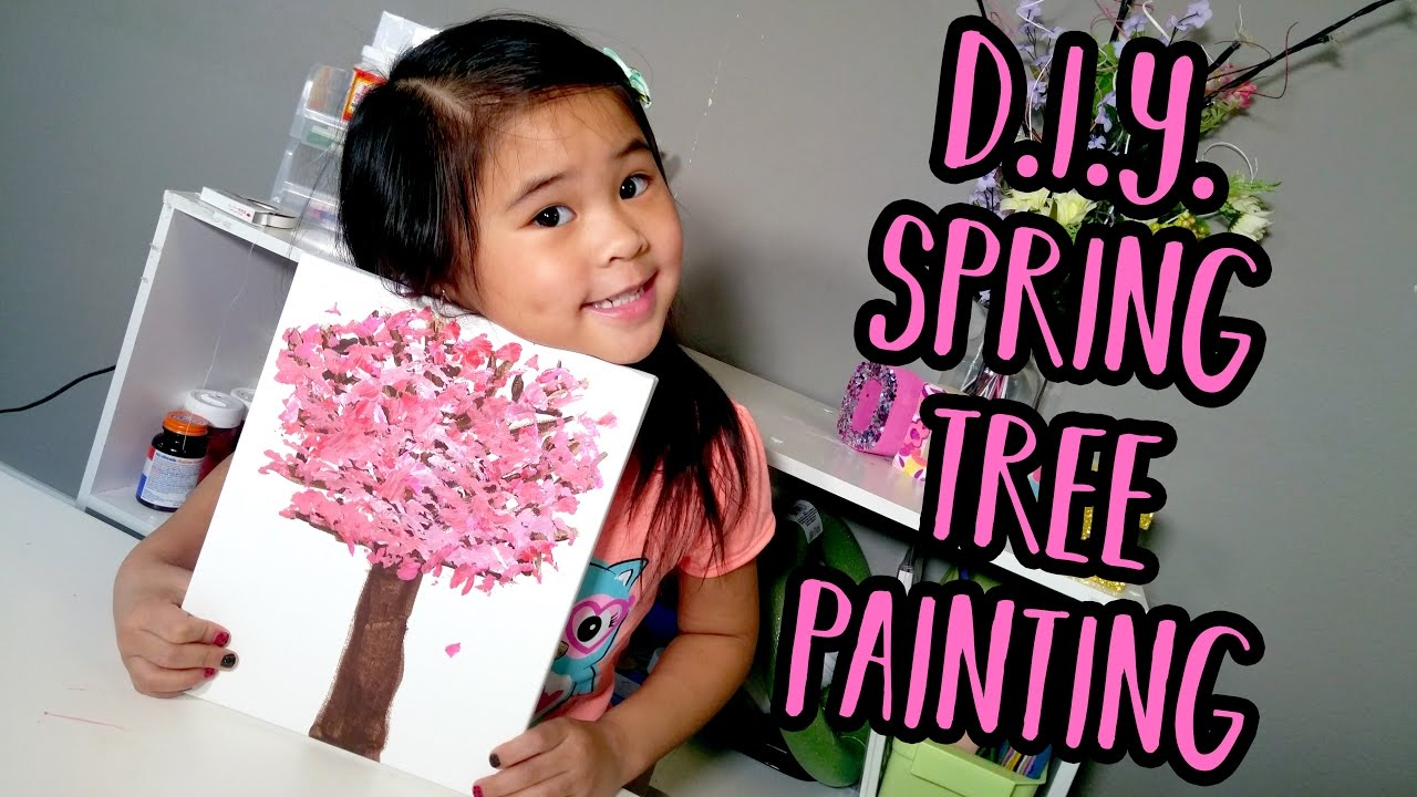 Diy Easy Cherry Blossom Painting Tutorial For Kids Spring Tree Painting Ideas For Toddlers