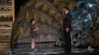 jimmy kimmels 9 year old self shows up at oscars