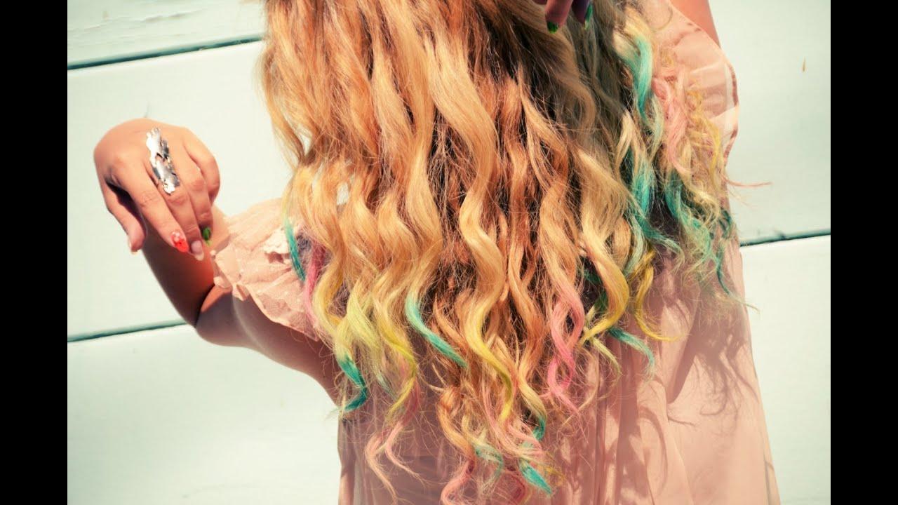 diy colorful chalk hair tips tutorial