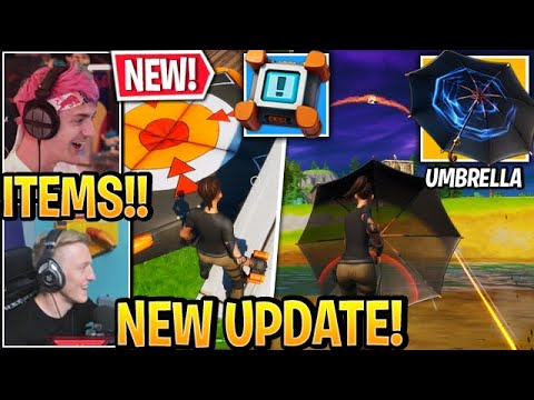 """Streamers USE *NEW* """"UMBRELLA"""" Weapon & """"CRASH PADS"""" In Fortnite UPDATE"""