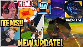 "Streamers USE *NEW* ""UMBRELLA"" Weapon & ""CRASH PADS"" in Fortnite UPDATE"
