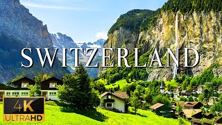 FLYING OVER SWITZERLAND (4K UHD)  Relaxing Music With Stunning Beautiful Nature (4K Video Ultra HD)