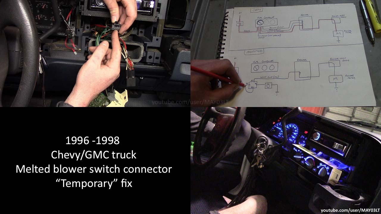 hight resolution of 96 98 chevy gmc pickup melted blower switch connector temporary fix youtube