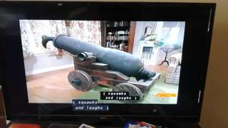 Spongebob patchy the pirate in the cannon and crash into the house