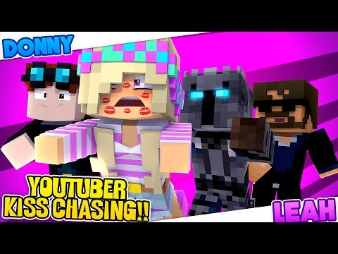 Minecraft YOUTUBER KISS CHASING-WHO IS LEAH'S YOUTUBE CRUSH???-Mini-Games-Donny & Leah Adventures!!!