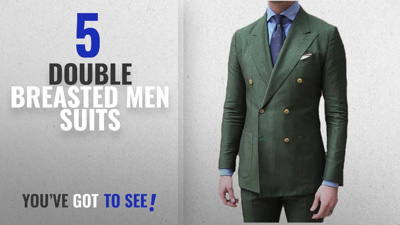 c75b35ca167f7 Top 10 Double Breasted Men Suits [Winter 2018 ]: BOwith Double Breasted  Green Men Suits terno Slim