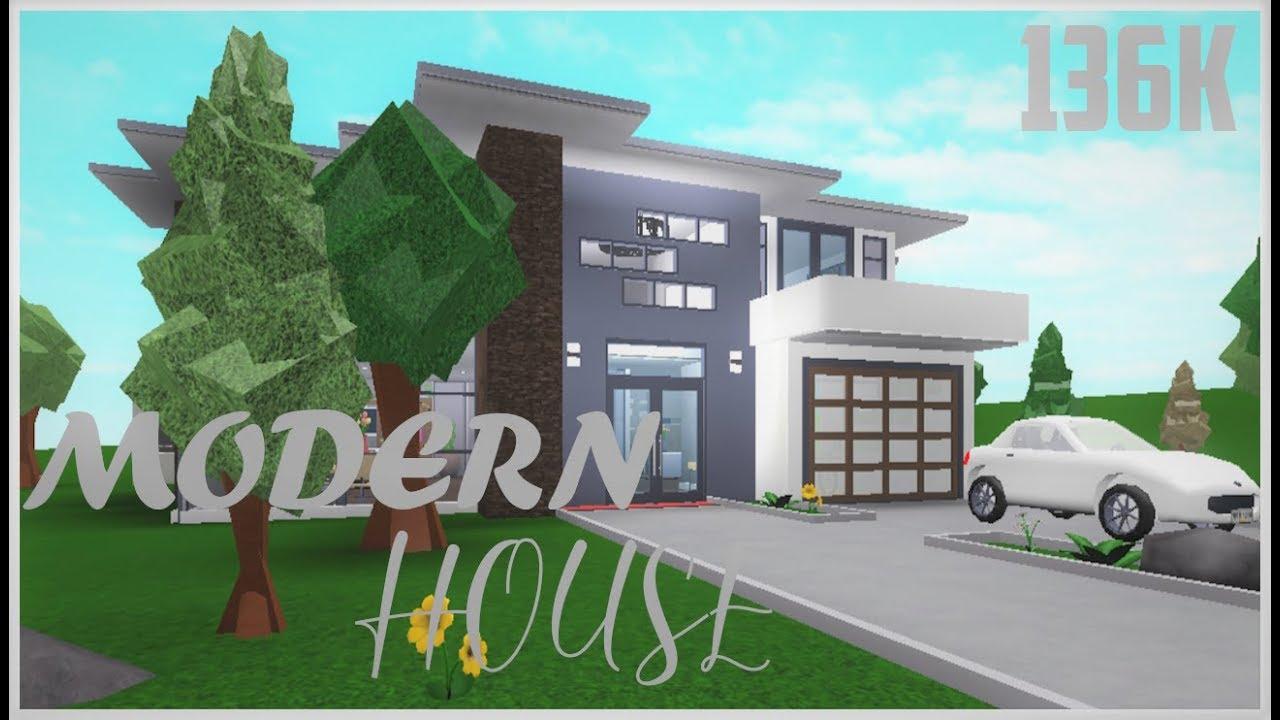 136k Modern House Speedbuild Roblox Bloxburg Youtube