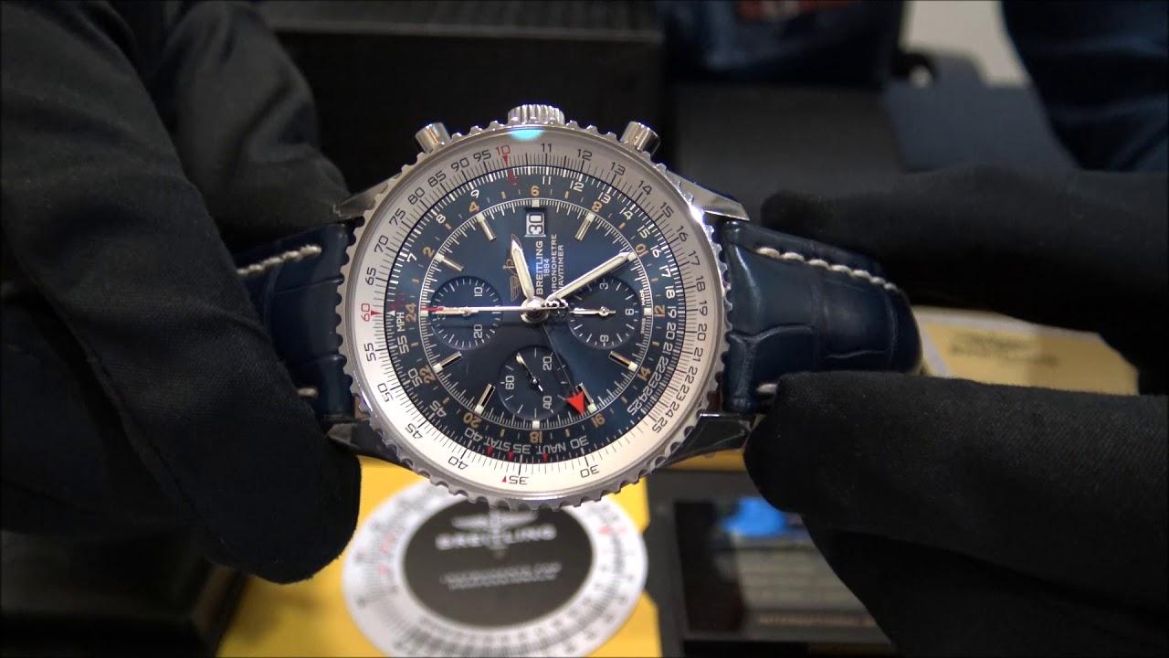 5f006b041 Breitling Navitimer World Chrono GMT 46 Blue 2016 | WatchesGMT - YouTube