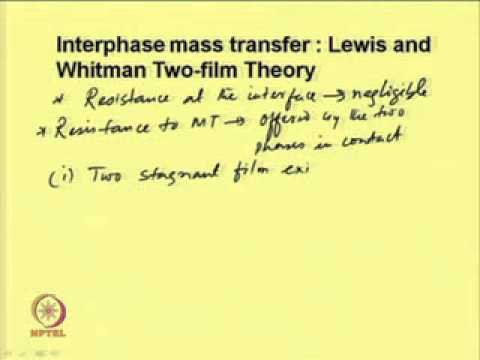 Mod 02 Lec 06 Interphase Mass Transfer And Mass Transfer Theories