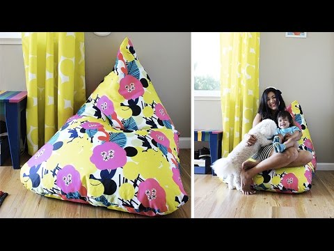 How To Make An Amazing Easy Bean Bag Chair (Sillón Puff Tutorial) | Live Colorful