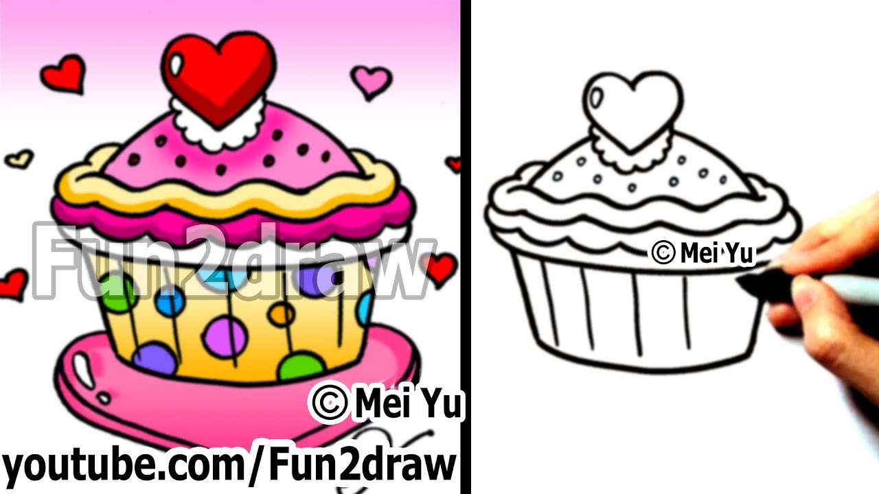 How To Draw A Heart Cupcake Valentines Day Fun Things