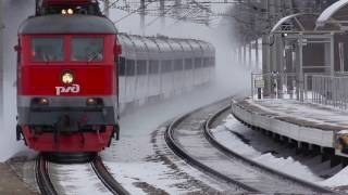 RZD Nevskiy Express and Sapsan high speed trains blows the snow away