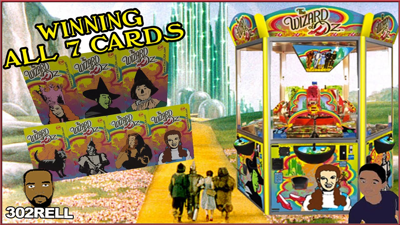 Winning all 7 cards wizard of oz coin pusher arcade machine game