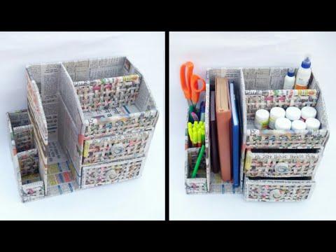 desk organizer with cardboard and newspaper   newspaper craft   cardboard drawer   HMA##199