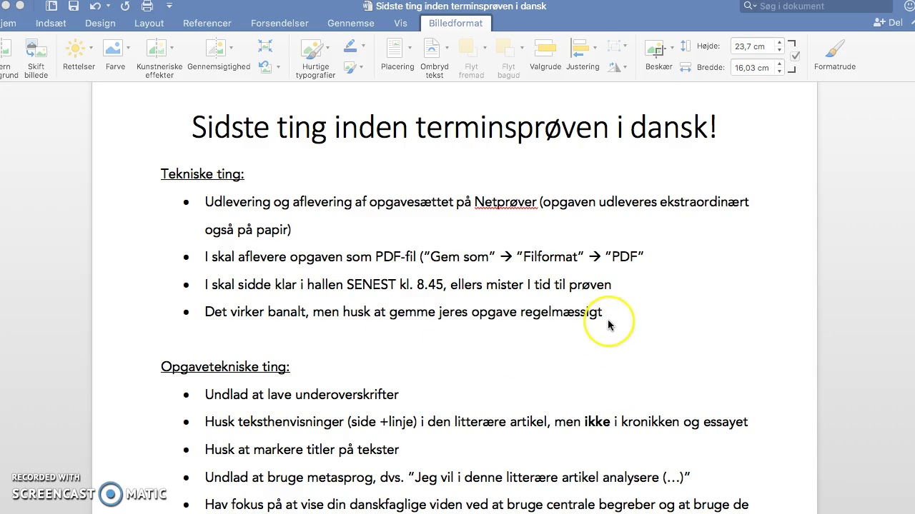 MUST SEE - Sidste ting inden terminsprøven i dansk!