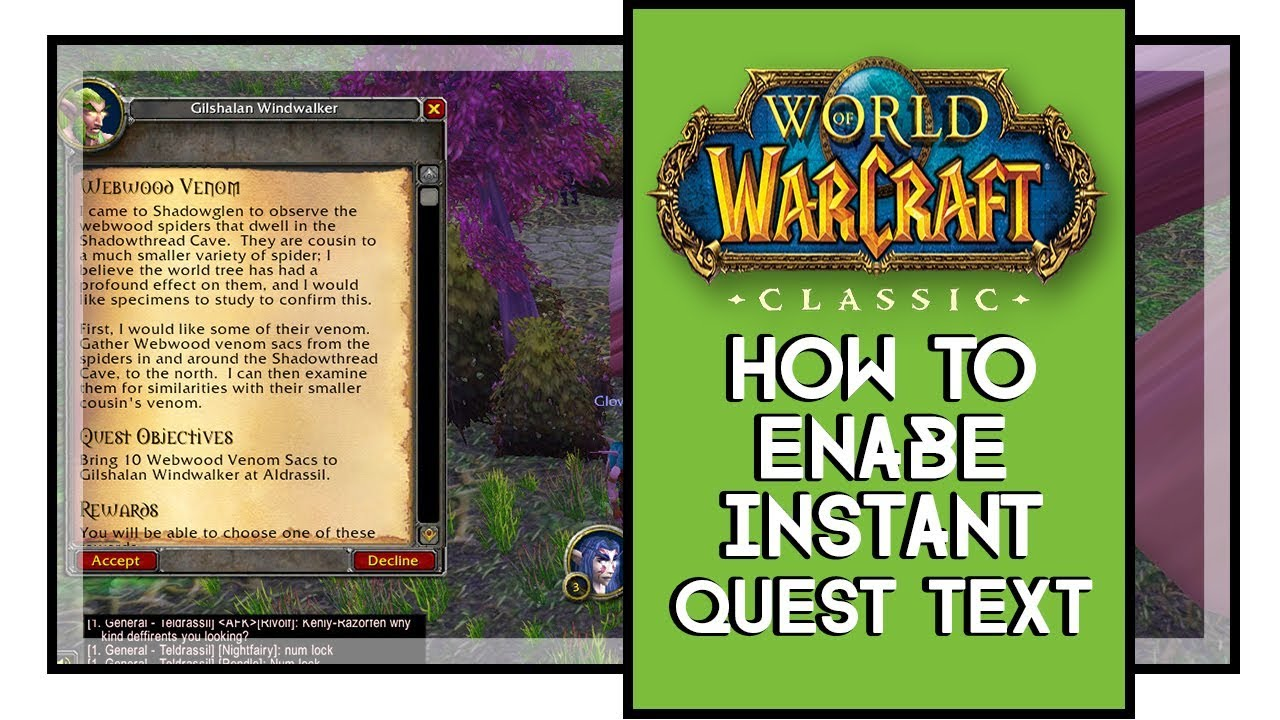 World of Warcraft Classic How To Enable Instant Quest Text