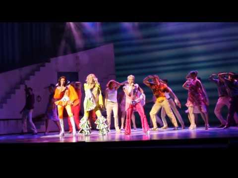 The Dynamos, Sara Poyzer, Shobna Gulati and Sue Devaney, perform 'Dancing Queen'.