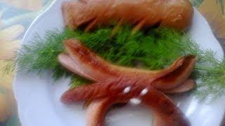 Краб и листик из сосисок. Crab and leaf of sausages.