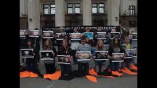 Флэшмоб в честь памяти погибшим 2 мая в доме Профсоюза Одесса 02.10.2014
