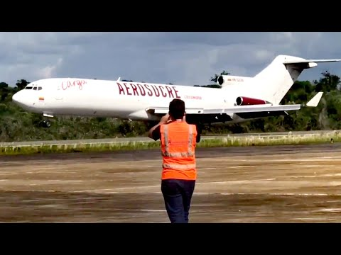 AEROSUCRE BOEING 727-200 HK5239 LANDING NOSE GEAR UP SKPD INIRIDA GUANIA COLOMBIA