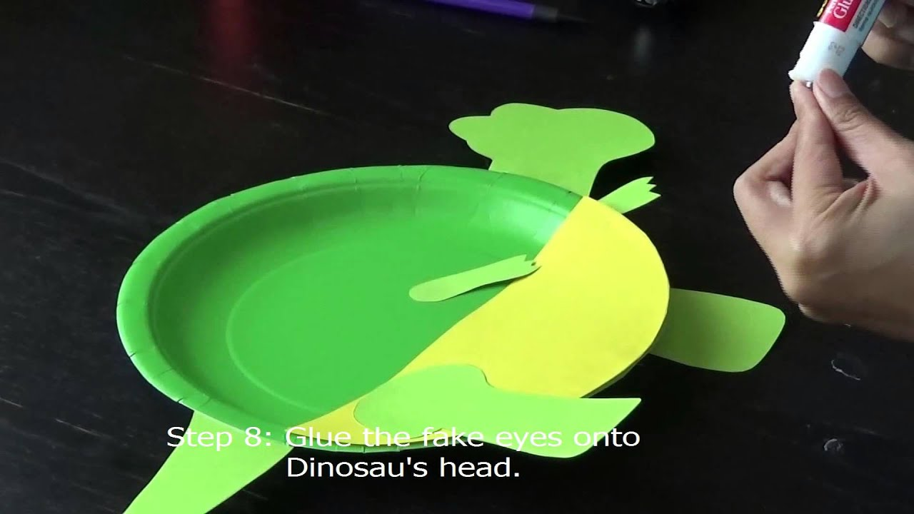 & DIY Paper Plate Craft -- Dinosaur#1(纸盘手工之绿色恐龙) - YouTube