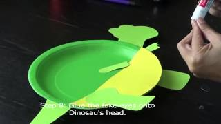 DIY Paper Plate Craft -- Dinosaur#1(纸盘手工之绿色恐龙)