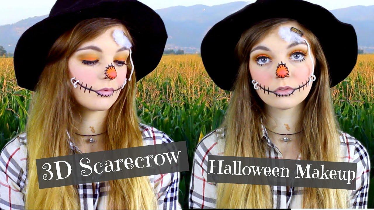 3D Scarecrow    Halloween Makeup Tutorial 2015! - YouTube
