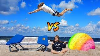 Mini TRAMP vs REGENBOGEN GYMNASTIKBALL!