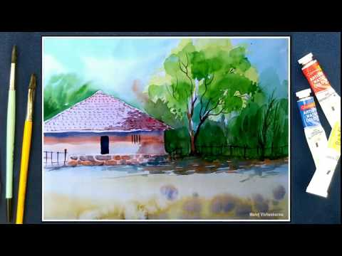 Watercolor landscape tutorial : How to paint village scenery in watercolor Indian artist