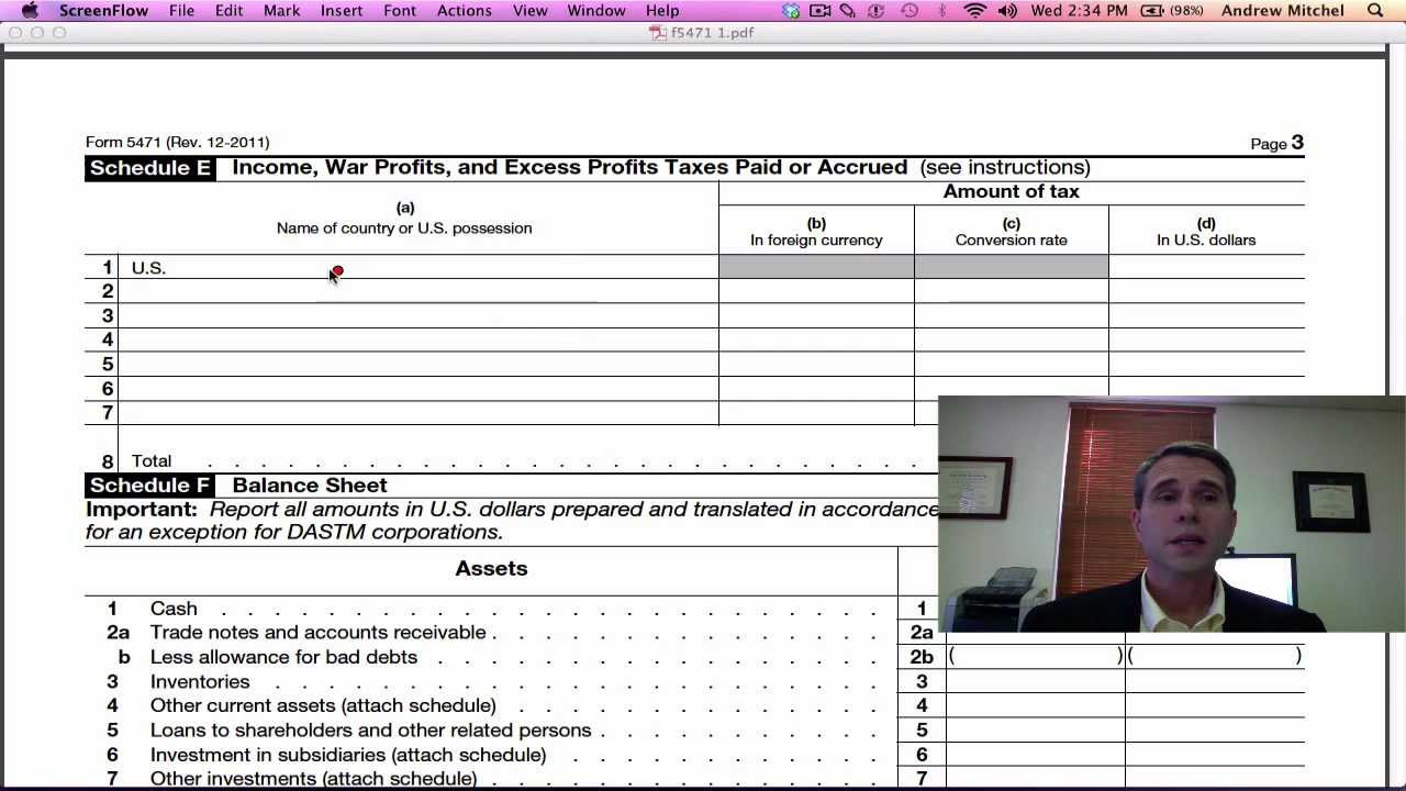 Form 5471, Pages 2-4 - YouTube