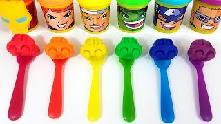 Learn Colors with Play Doh Cars Spoons for Kids