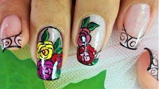 Facil diseño de uñas con rosas - Decoración de uñas rosas - Diseño fácil de uñas con flores