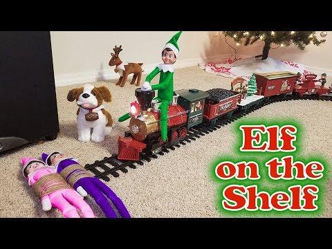Purple & Pink Elf on the Shelf - Green Prankster Elf Rides the Train! Day 12